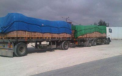 Cargo entering Gaza at Kerem Shalom crossing