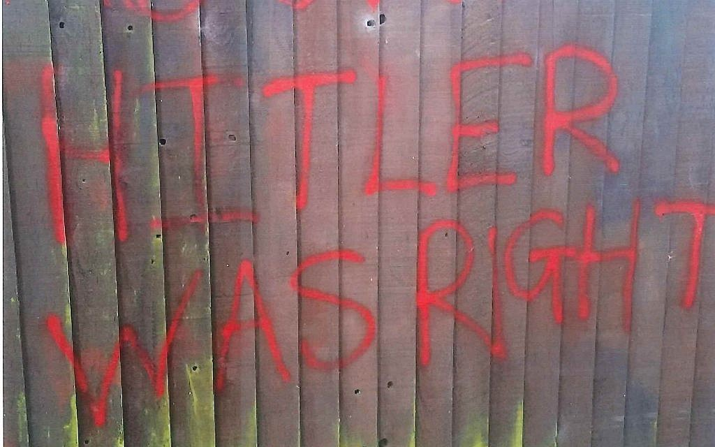 'Hitler was right' daubed on a fence