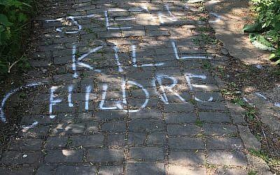 'Jews Kill Children' scrawled on a park path