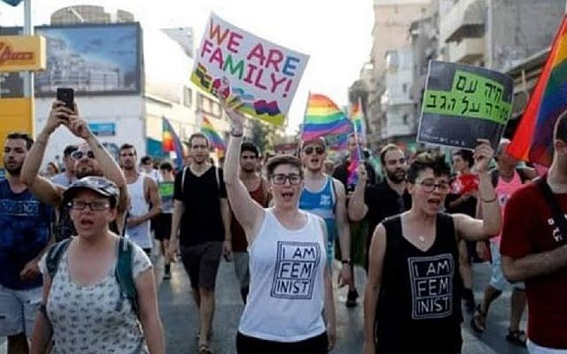 Demonstrators for LGBT rights march in Tel Aviv