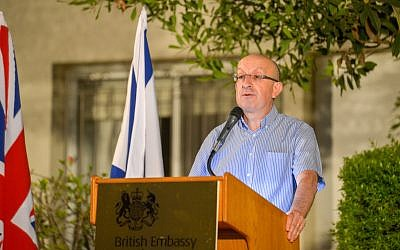 Michael Wegier speaking at the Israeli Ambassador's house in Tel Aviv, during the Jewish News Aliyah 10 reception