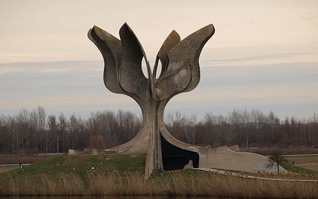 Stone Flower Monument at Jasenovac concentration and extermination camp
