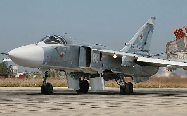Syrian Sukhoi warplane on the tarmac at a an airbase in Syria
