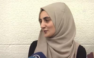 Ebru Ozkan speaking after release (Screenshot from YouTube)