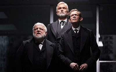 Simon Russell Beale, Ben Miles and Adam Godley in The Lehman Trilogy at the National Theatre, London. Credit: Mark Douet