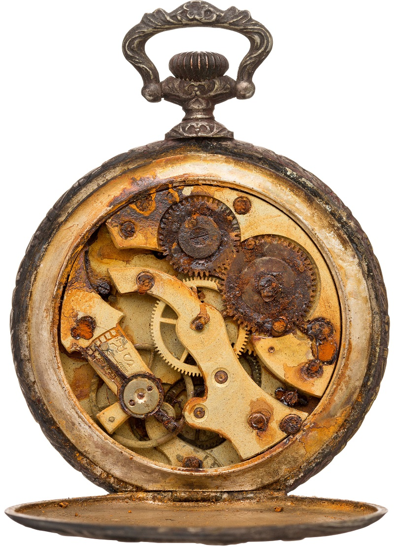 fe13a3b4f The watch's movement is rusted as a result of immersion in salt water,  following the Titanic disaster
