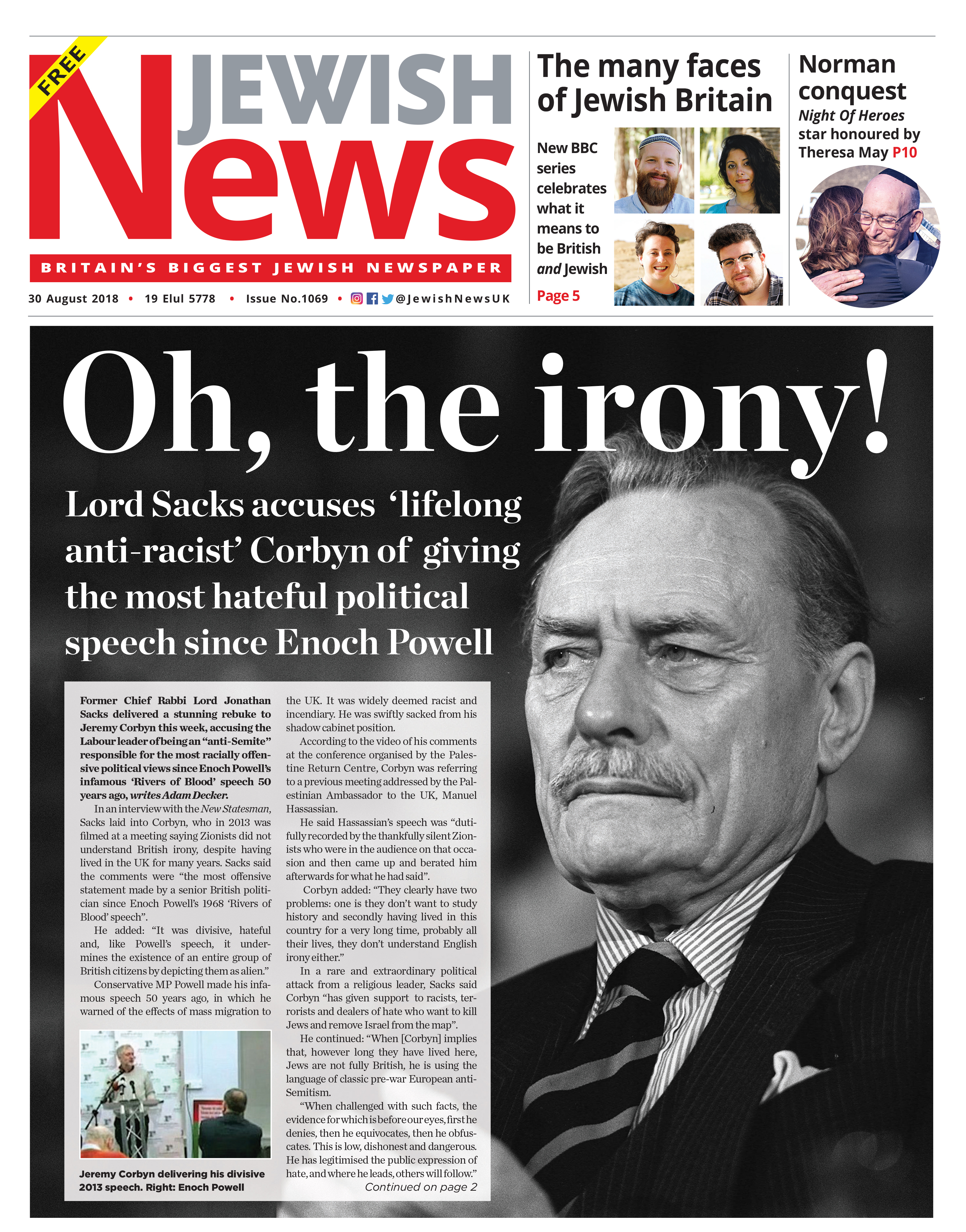 This Jewish News front page in the week of Rabbi Lord Sacks' comments about Jeremy Corbyn