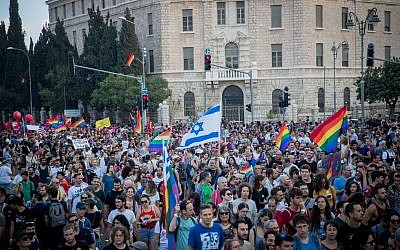"Participants take part in the annual Jerusalem Gay Pride parade on August 2, 2018.   This year's parade, the 17th annual Jerusalem march, is being held under the banner of ""Pride and Tolerance"". Photo by: JINIPIX"