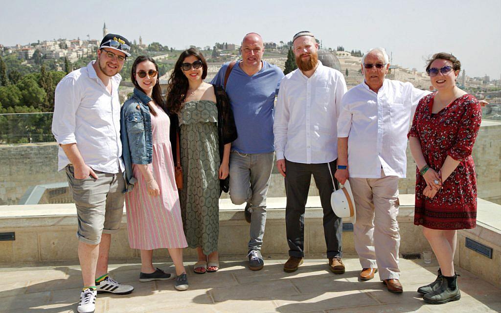 Participants on the BBC series on British Jews. (L-R) Simon, Lilly, Ella, Damon, Joseph, Alan and Emma, on the Aish balcony overlooking the Western Wall, Israel.  (Image Credit: BC/Lion TV/Strahila Royachka. Photographer: Strahila Royachka)