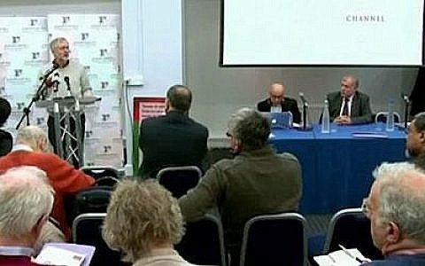 Jeremy Corbyn speaking at the 2013 meeting, where he made the English irony remarks. Picture courtesy of the Daily Mail