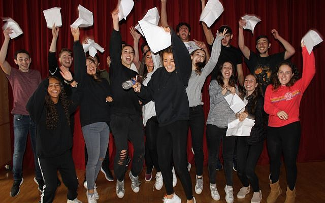 Yavneh students celebrating remarkable A-Level success