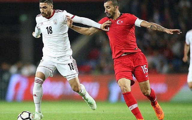 Alireza Jahanbakhsh playing for Iran in a friendly match against Turkey, 2018. Picture: Mahdi Zare/Fars News Agency