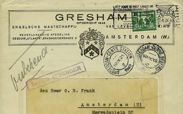 The unopened letter which was sent to Anne Frank's father. Picture: Corinphila Auction House