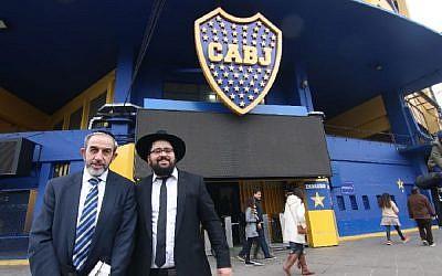 "The Bocasher kosher food stand at Boca Jewniors' Bombonera stadium. Pictured: Rabbi David Oppenheimer (r) Rabbi Shneor ""Uri"" Mizrahi. Picture: Chabad-Lubavitch La Boca"