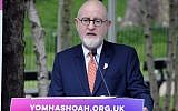Henry Grunwald hosting the 2018 Yom Hashoa memorial event in Hyde Park. Credit: John Rifkin