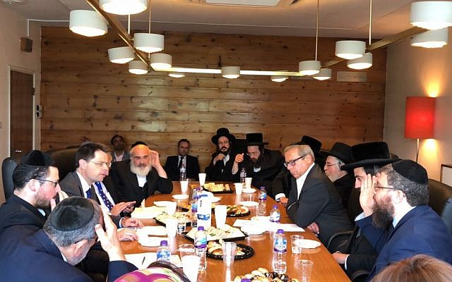 James Brokenshire with strictly-Orthodox community leaders in Stamford Hill