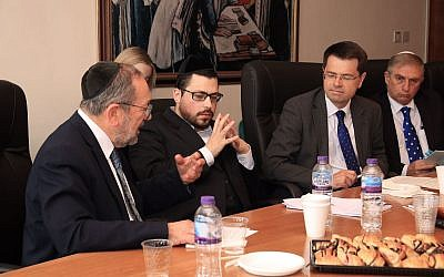 James Brokenshire (second right) with strictly-Orthodox community leaders