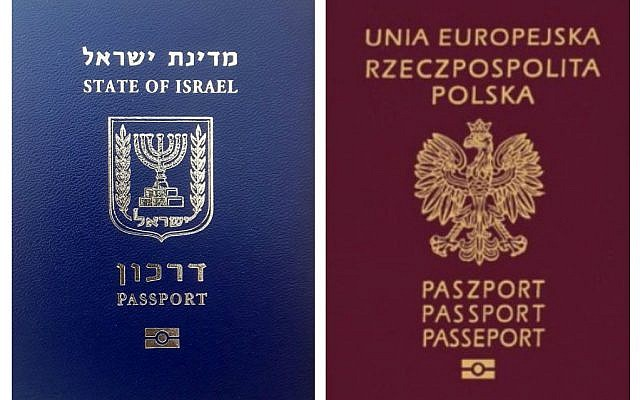 An Israeli and Polish passport