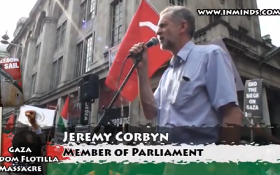 Jeremy Corbyn pictured at the anti-Israel demonstration in 2010, where the remarks were made