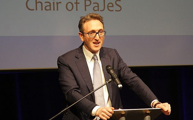JLC Chair Jonathan Goldstein speaking at the Jewish News-PaJeS Schools Awards in 2017