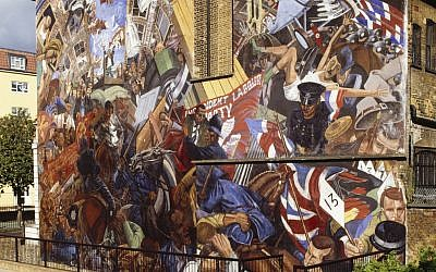 Mural on the former St George's Town Hall in Tower Hamlets, London, which commemorates the Battle of Cable Street. Cable Street, for the event it witnessed, has been chosen by David Olusoga in the Power, Protest & Progress category of A History of England in 100 Places. © Historic England