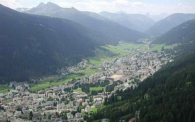 View of Davos from para-glider, looking southwest