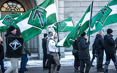 Nordic Resistance Movement at a rally in central Stockholm, December  2016
