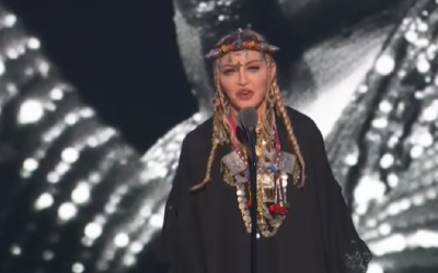 Madonna speaking at Aretha Frankling's memorial