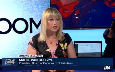 Marie van der Zyl speaking on i24News