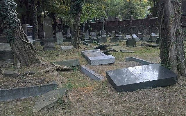 Damaged headstones at the cemetery in Mysłowice