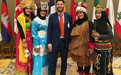 Phil Rosenberg alongside some of the Muslim guests at the 7th World Peace Forum in Jakarta, Indonesia (Credit: World Jewish Congress on Twitter)