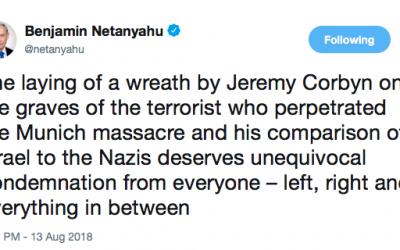 Benjamin Netanyahu's tweet criticising Jeremy Corbyn