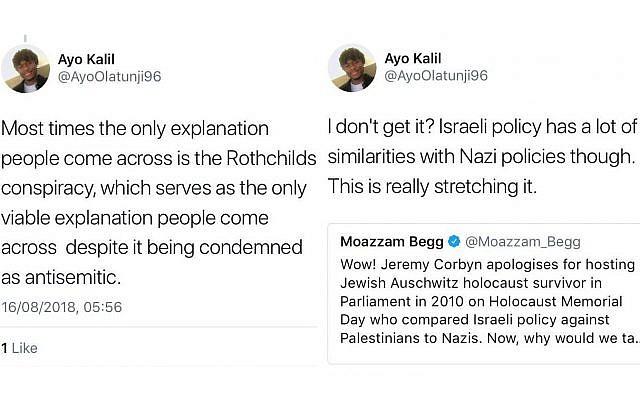 Two of Ayo Olatunji's controversial tweets