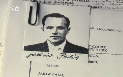Screenshot from YouTube video, showing an image of  Jakiw Palij's documents