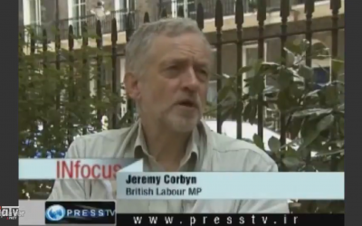 Screenshot of Jeremy Corbyn speaking on Iran's Press TV