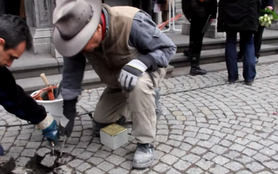 Demnig installs a Stolperstein in Cologne in 2013