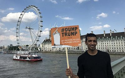 Mohammed Irfan with a Friends of Al Aqsa sign during the anti-Donald Trump protest in London