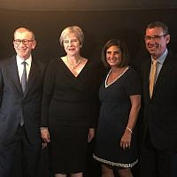 L-R: Philip May, PM Theresa May, Louise Jacobs and Israel's envoy to the UK Mark Regev