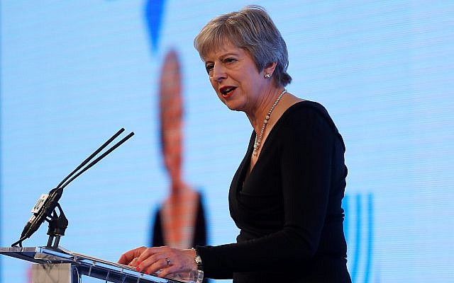 Former Prime Minister Theresa May speaks at charity dinner in London in 2018, when she was in office. Photo credit: Peter Nicholls/PA Wire