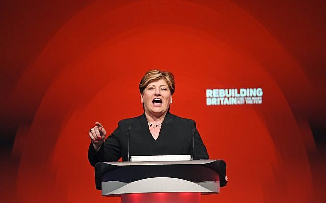 Shadow foreign secretary Emily Thornberry speaks during the Labour Party's annual conference. Photo credit: Stefan Rousseau/PA Wire