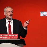 Labour leader Jeremy Corbyn giving his keynote speech at the Labour Party's annual conference at the Arena.  Photo credit: Peter Byrne/PA Wire