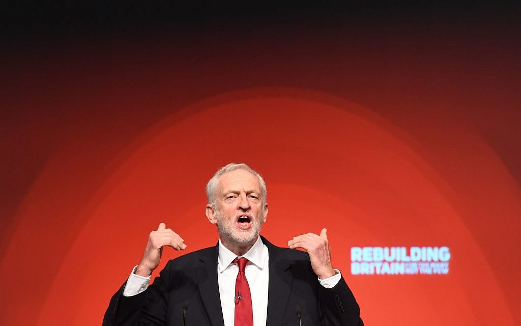 Labour leader Jeremy Corbyn giving his keynote speech at the party's annual conference. Photo credit: Stefan Rousseau/PA Wire
