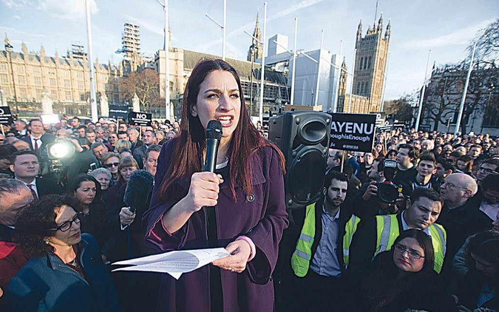 Luciana Berger addressing the Enough is Enough rally against Labour antisemitism