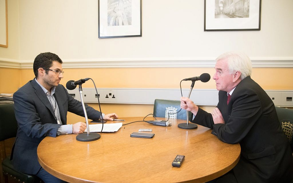 John McDonnell being interviewed by Jewish News.   Credit: Marc Morris Photography