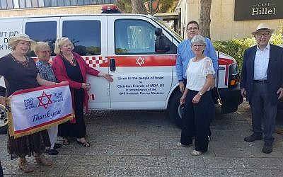 British Christians donated two ambulances to Israel, in remembrance of the 1948 Hadassah Convoy Massacre