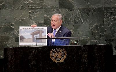 Israeli Prime Minister Benjamin Netanyahu at the United Nations, revealing what he claimed to be a secret nuclear warehouse