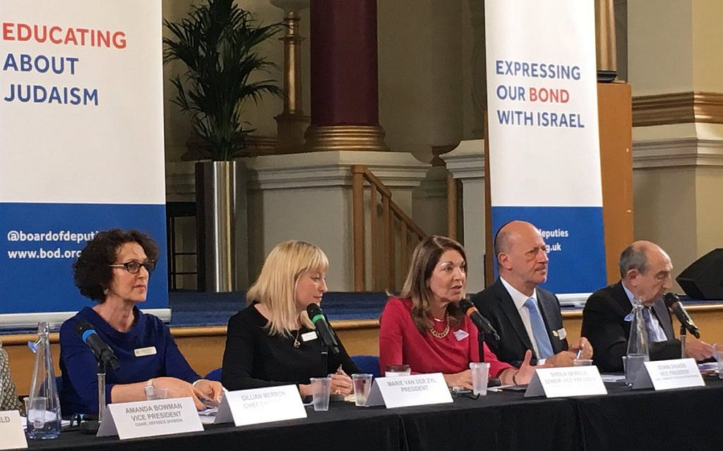 A Board of Deputies plenary, with President Marie van der Zyl (second left), newly-elected earlier this year.