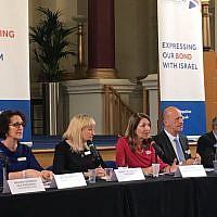 A Board of Deputies plenary, with President Marie van der Zyl (second left)