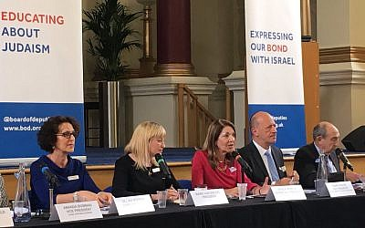 A Board of Deputies plenary, with President Marie van der Zyl (second left), elected earlier this year.