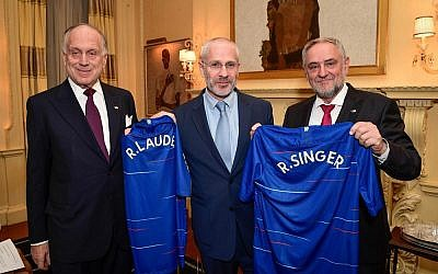 From left: WJC President Ronald S. Lauder; Director for Chelsea Football Club Eugene Tenenbaum; and WJC CEO Robert Singer. (Photo: Shahar Azran / World Jewish Congress)
